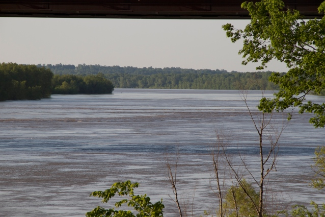 Peaking under the bridge, looking southward. In low water, there are sandbars out there.